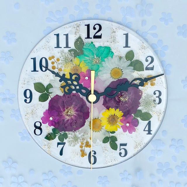 【母の日ギフト】押し花 花時計 【フラワーガーデン・ローズ】 φ15cm ハンドメイド ギフト ボックス入り