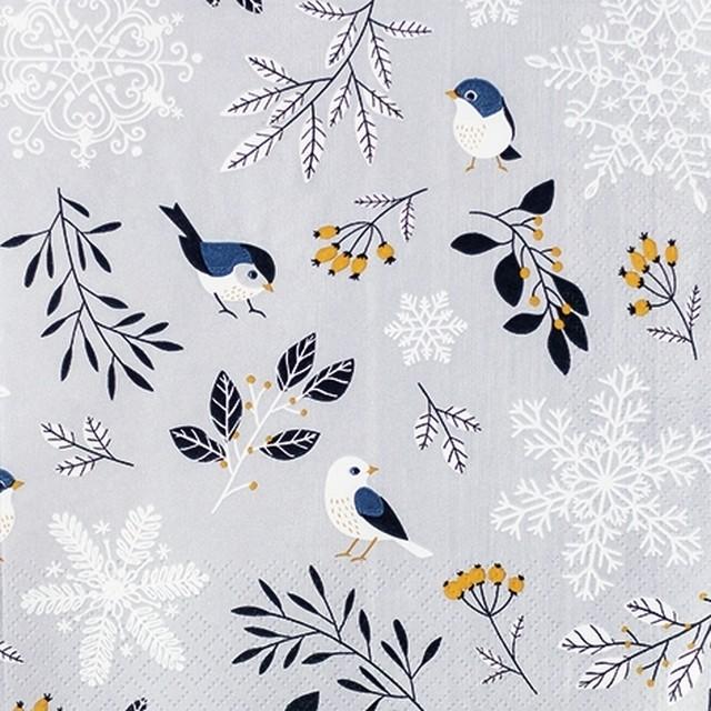 【Home Fashion】バラ売り2枚 ランチサイズ ペーパーナプキン Birds and Twigs ライトグレー