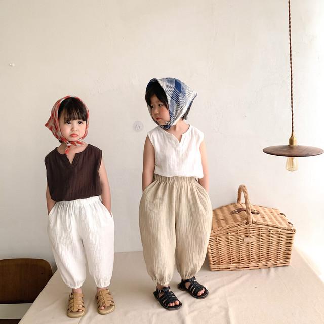 【夏物SALE】20%off【即納】ノースリーブトップス ユニセックス 夏 韓国子供服