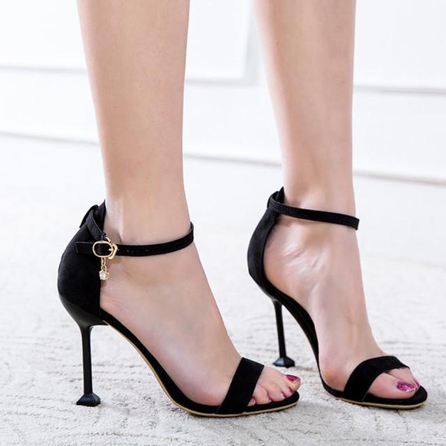 【shoes】スエード無地ファッションセクシーピンヒールストラップ夏ハイヒールサンダル