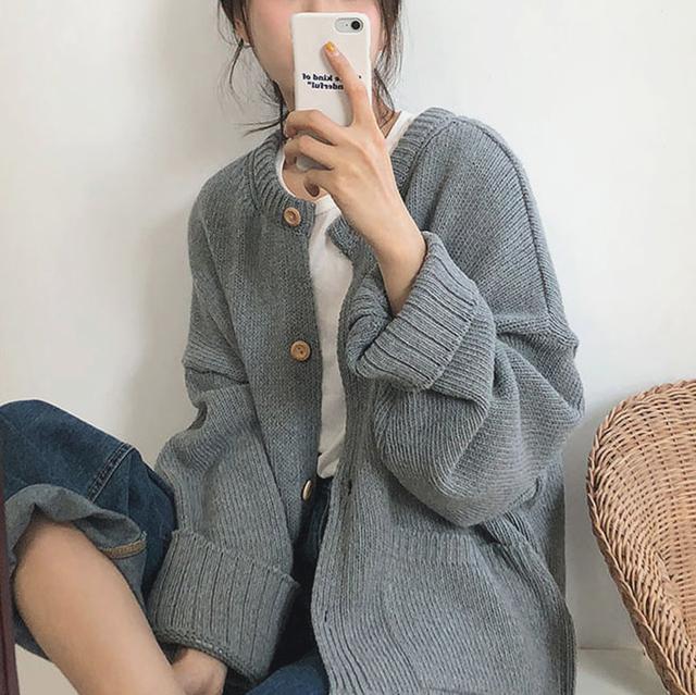 韓国ファッション ゆるめ カーディガン ニットジャケット 3色 RPTOP101803