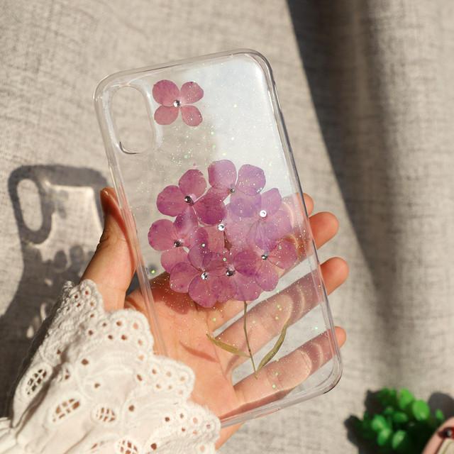 【iPhone11シリーズ対応】こんまり紫色<紫陽花>モチーフ ドライフラワー かわいい押し花UVレジン(SPCa0243PP)◆スマホケース/iPhoneケース