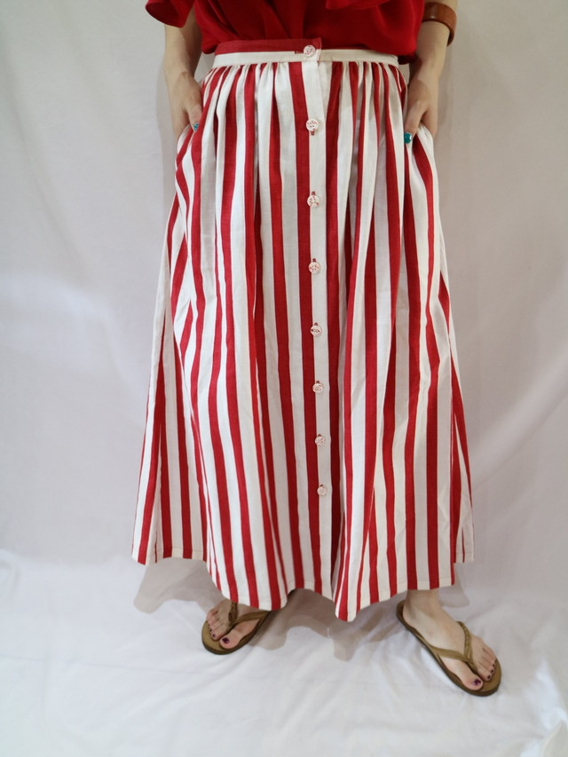 stripe front button  skirt【1328】