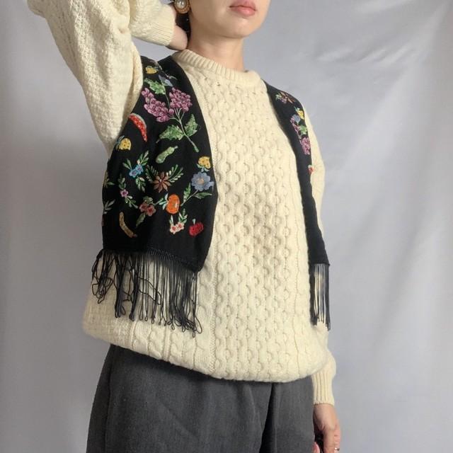 Vintage Vest _02(ユーズド 刺繍 ベスト 青)