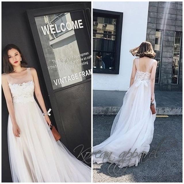 結婚式 ウェディングドレス ロング レース パーティー