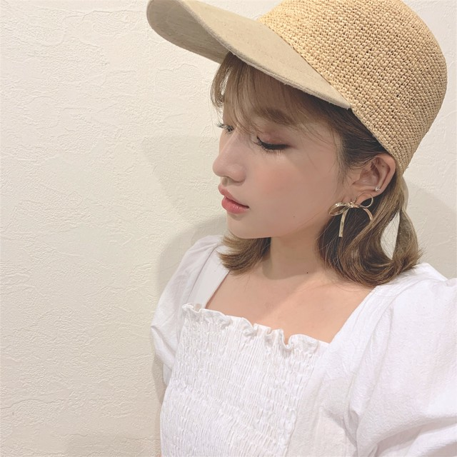 straw ribbon cap (S19-10082K)