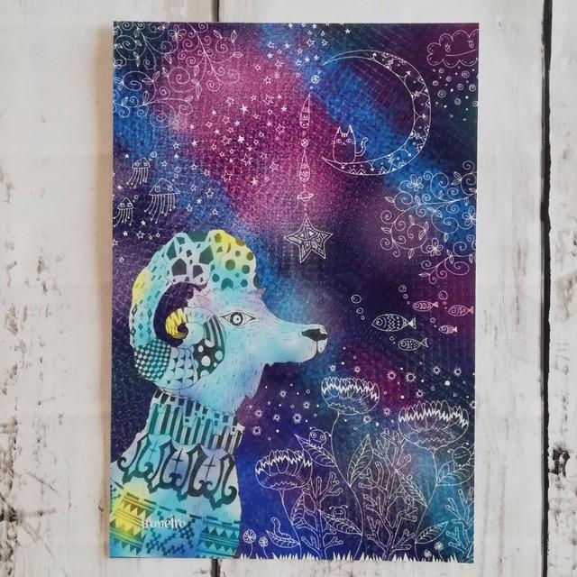 ポストカード 深藍に佇む山羊