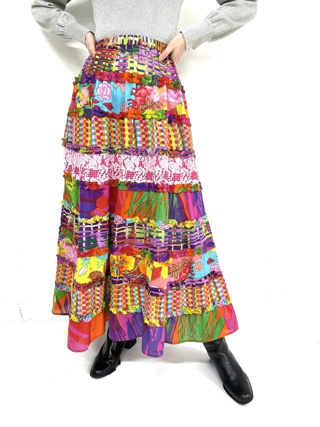 total pattern tiered  skirt / 3SSSK04-09