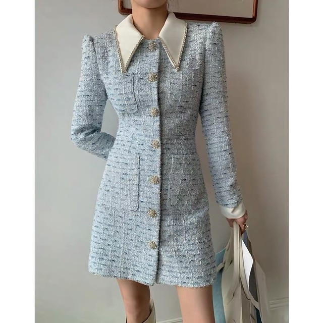 pastel blue tweed dress