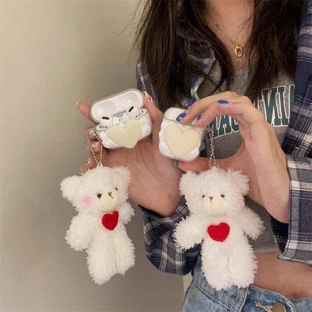 Clear Heart Teddy Bear airpods case