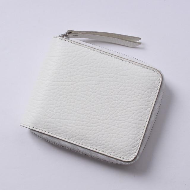 *Maison Margiela(メゾンマルジェラ) 二つ折り財布 レザーラウンドファスナー ホワイト ステッチ S56UI0111 P0399 T1003 r013973