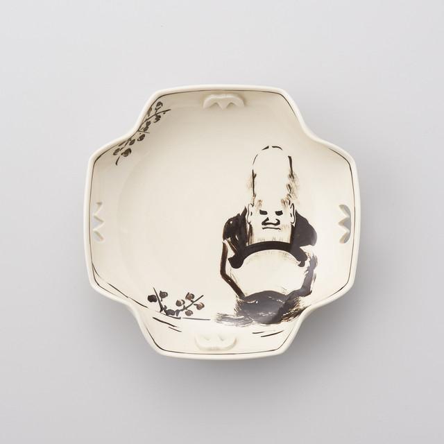 【陶祥窯】寿老人絵 四方なぶり菓子鉢 ※在庫限り