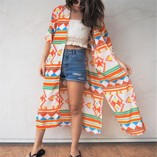 Chiffon Kimono Long Cardigan 《ORANGE》17383027
