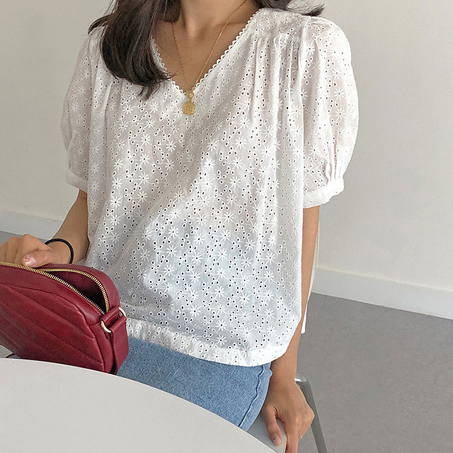 White Puff Sleeve Shirt T682