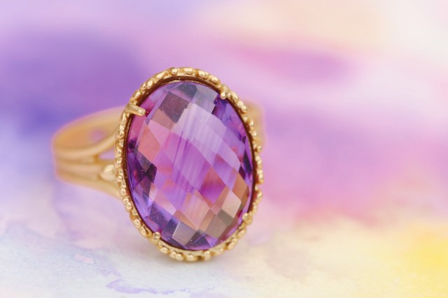 【宝石質】Big amethyst ring