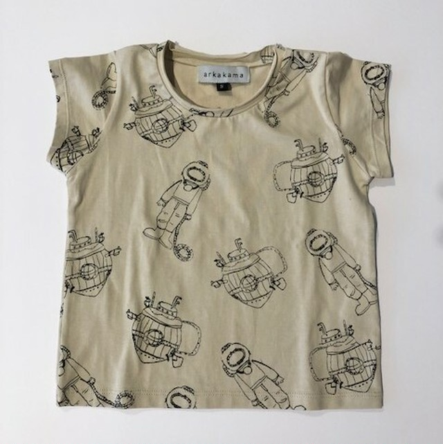 arkakama (アルカカマ) - Submarine S/S Tee(kids) IVORY×CHARCOAL 潜水艦 サブマリン S.M.L (2~3y.4~5y.6~7y)