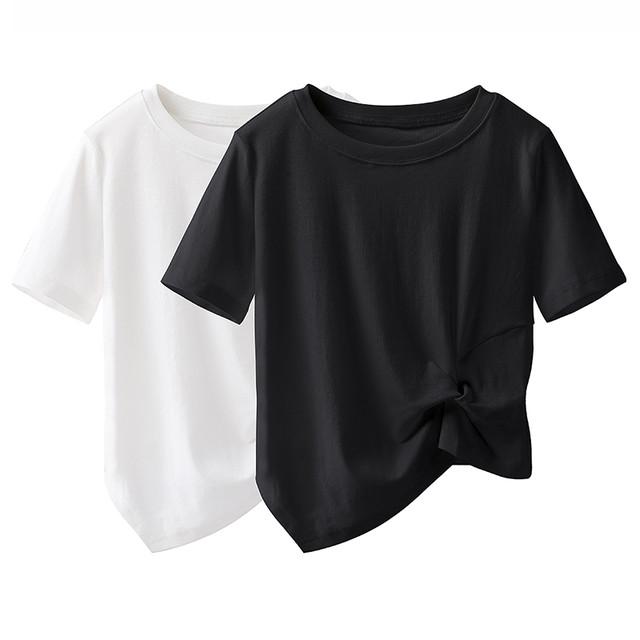 simple ツイストデザインTシャツ c3690}
