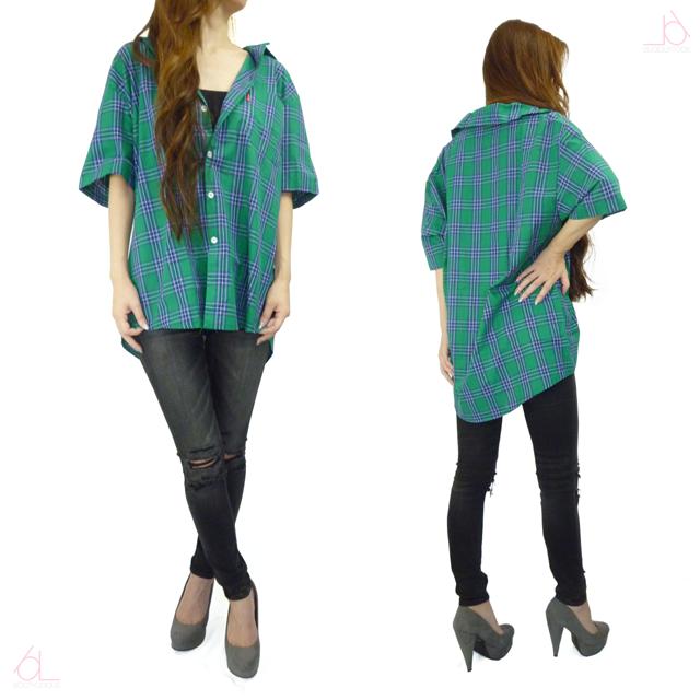 半袖BIGチェックシャツ/GREEN DMT-791 【即納】