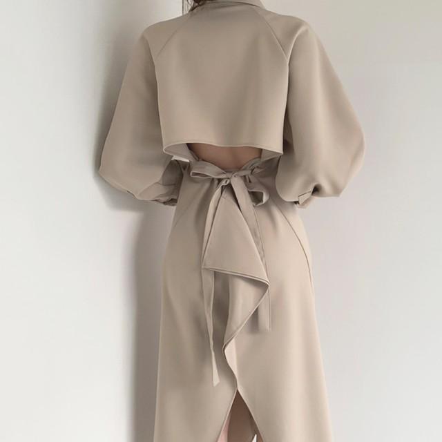 バックが可愛い 膝丈ワンピース オルチャンファッション SHD522301