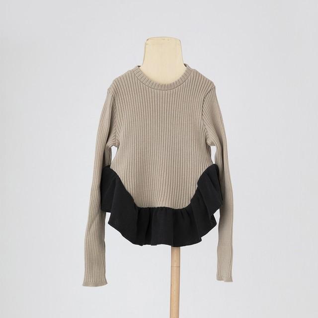 folk made  tutu knit S/M/L (sand beige×charcoal gray) F21AW-028 ※メール便1点までOK