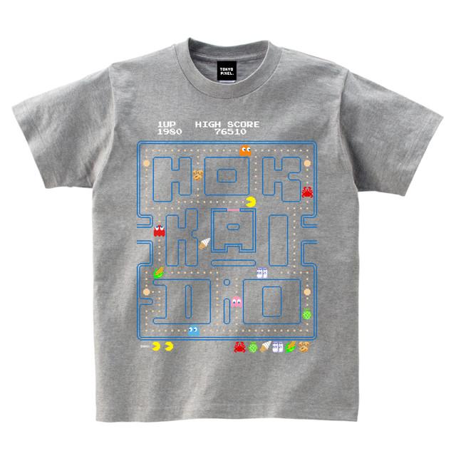 「 Hokkaido 」ご当地パックマンTシャツ!(グレー) 【コントローラー別注!!】