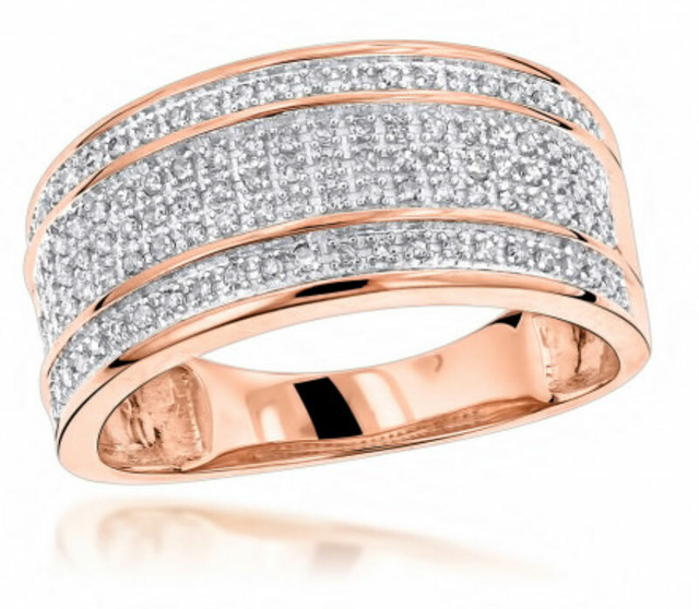 UNIQUE WEDDING BANDS 10K ROSE GOLD 5 ROW DIAMOND RING