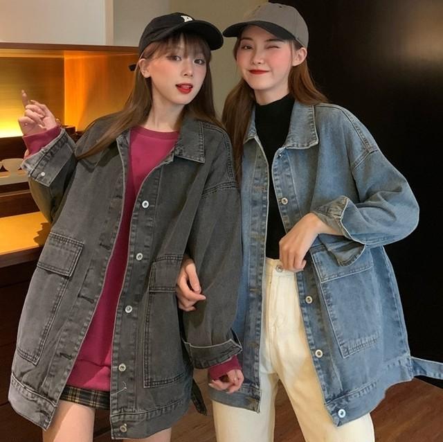 【アウター】女子マスト シンプル 長袖 折襟 デニムジャケット50580259