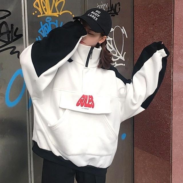 【トップス】ストリート系長袖切り替えアルファベットスタンドネックパーカー25969529