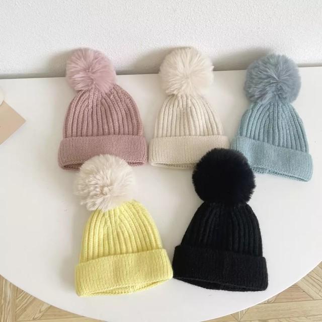 【お取り寄せ】ベビー/キッズ ぽんぽんニット帽 帽子 秋冬 男女兼用