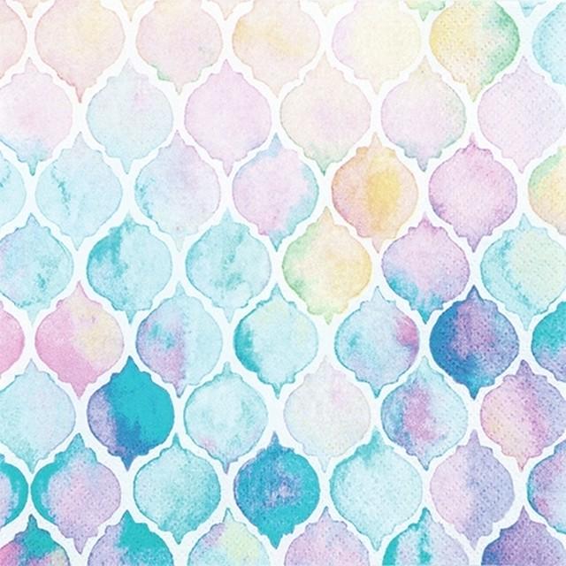 【Home Fashion】バラ売り2枚 ランチサイズ ペーパーナプキン WATERCOLOUR SHELLS マルチカラー