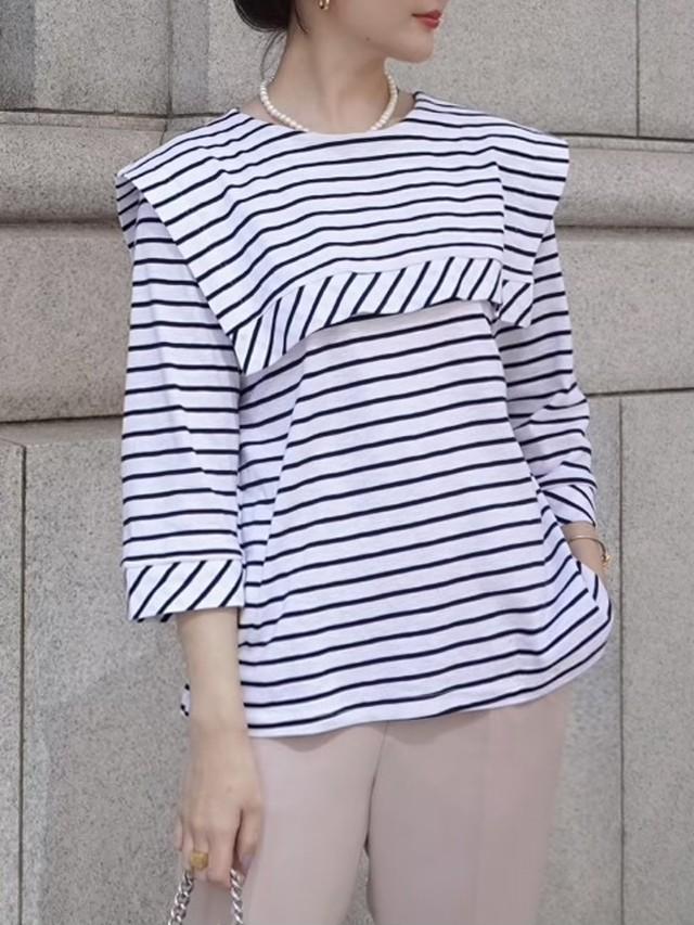 sailor collar border tee / white × black 5/20 21:00 ~ 再販 (即納)