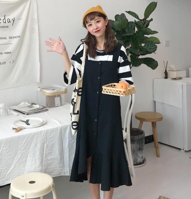 【送料無料】裾フリル&スリット♡ジャンパースカート ブラック パープル グリーン