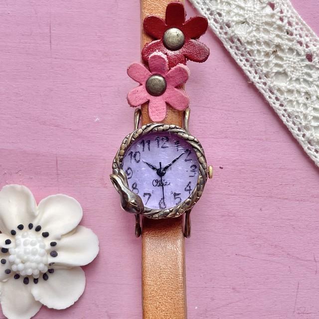 夢みるうさぎ腕時計Sラベンダー