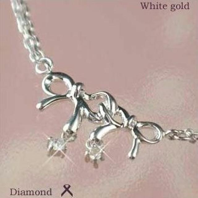 ダイヤモンド ブレスレット リボン 10金ホワイトゴールド レディース