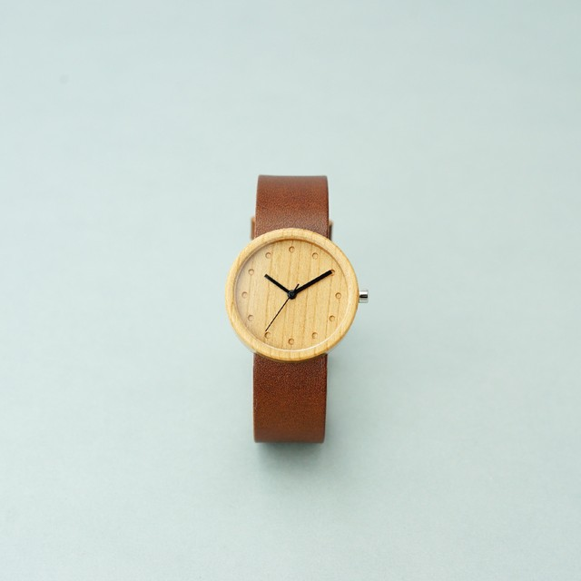 Cherry wood - Organic leather Dark Brown - M