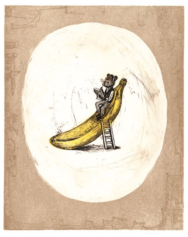 溝上幾久子「ネズミの記者」銅版画