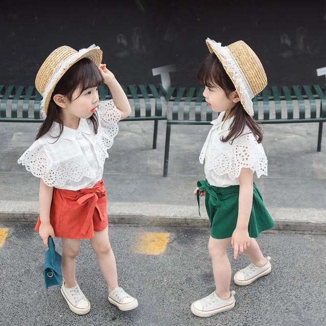 【セット】無地女の子清新カジュアルレースセットアップ27984283