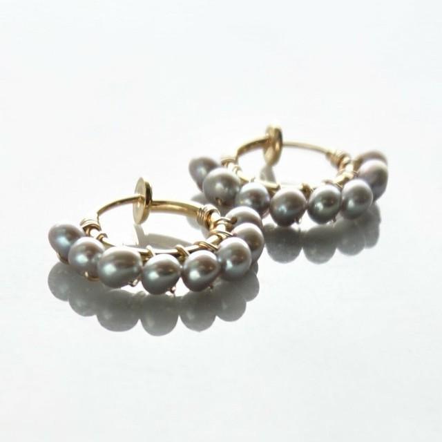 送料無料14kgf*Freshwater pearl wrapped pierced earring SIL/WHT