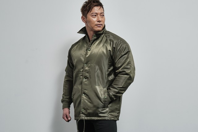 coach jacket with boa lining(OLIVE DRAB)