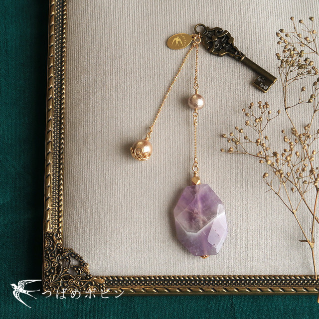 天然石とパールの帯飾り《ケープアメシスト/鍵》