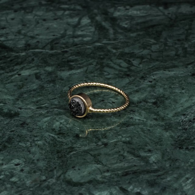 SINGLE MINI DRUSE THIN RING GOLD