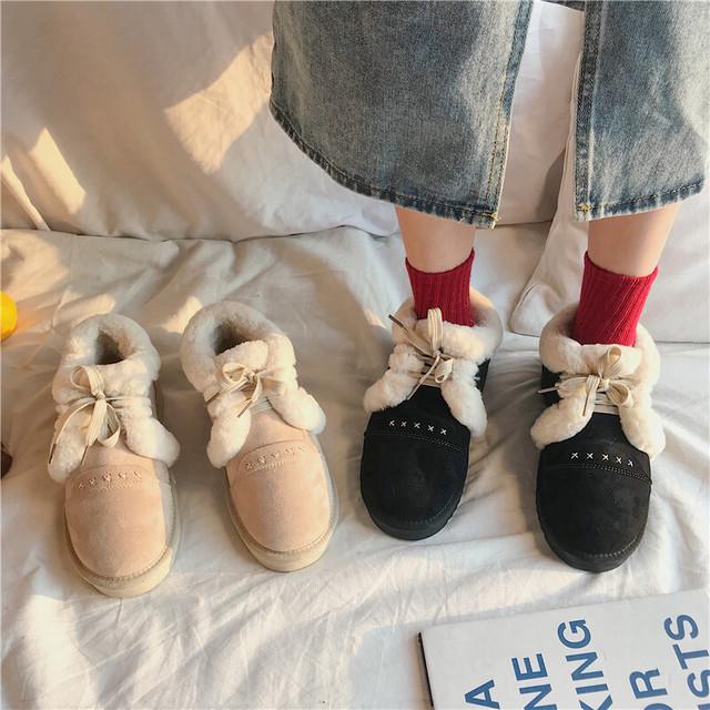 ファーシューズ ムートンブーツ 韓国ファッション レディース  ファー 防寒 もこもこ ふかふか フラットシューズ ぺたんこ 歩きやすい 疲れない / Snow boots plus velvet thick bottom (DTC-605414266740)