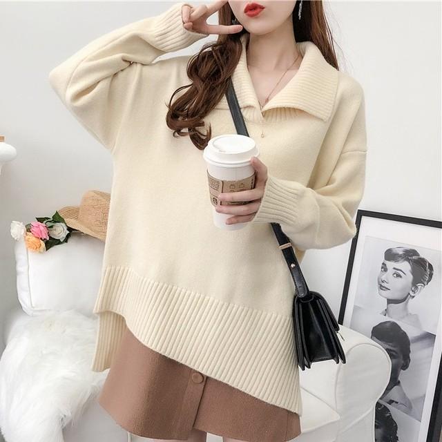 【tops】厚くて合わせやすい折り襟非対称セーター