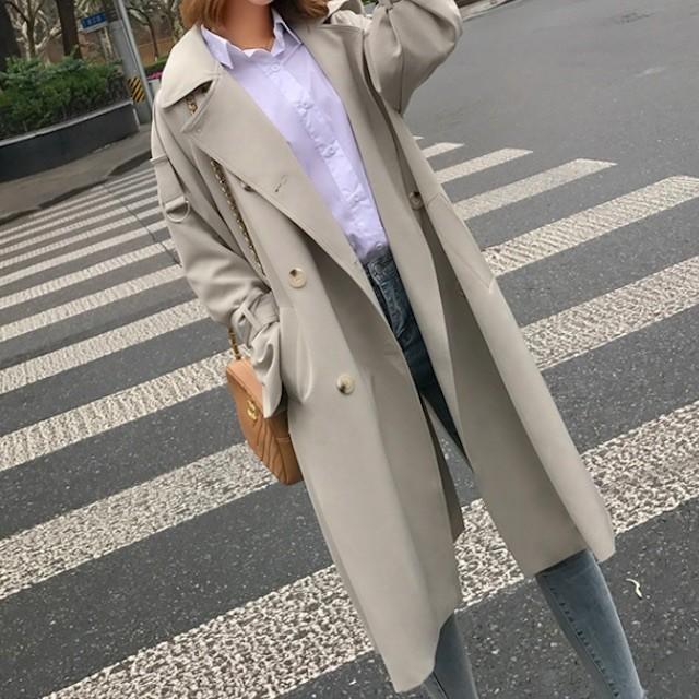 人気 レデイース 長袖 トレンチコート 無地 シンプル ジャケット ベルト シック  女子会 デート 通勤