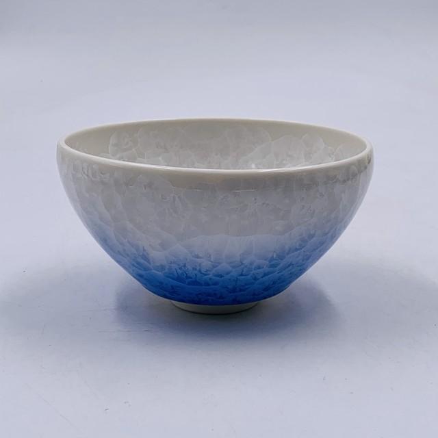 【陶あん】outlet 京焼 清水焼 花結晶 白青グラデーション抹茶碗*限定2個*
