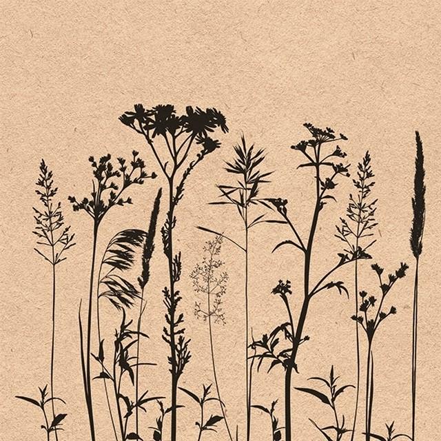 2021春夏新作【Ambiente】バラ売り2枚 ランチサイズ ペーパーナプキン Herbs And Flowers Black ナチュラル