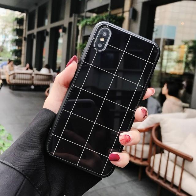 【iPhone12シリーズ対応】モノクロカラー<ブラック>グラフチェック柄デザイン(SPCa0208BK)◆iPhoneケース/スマホケース