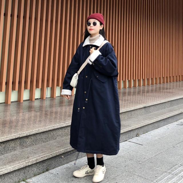 暖か裏地ボア素材ロングコート