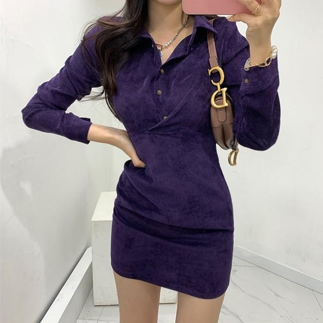 【dress】レトロ美しいラインワンピース25754894