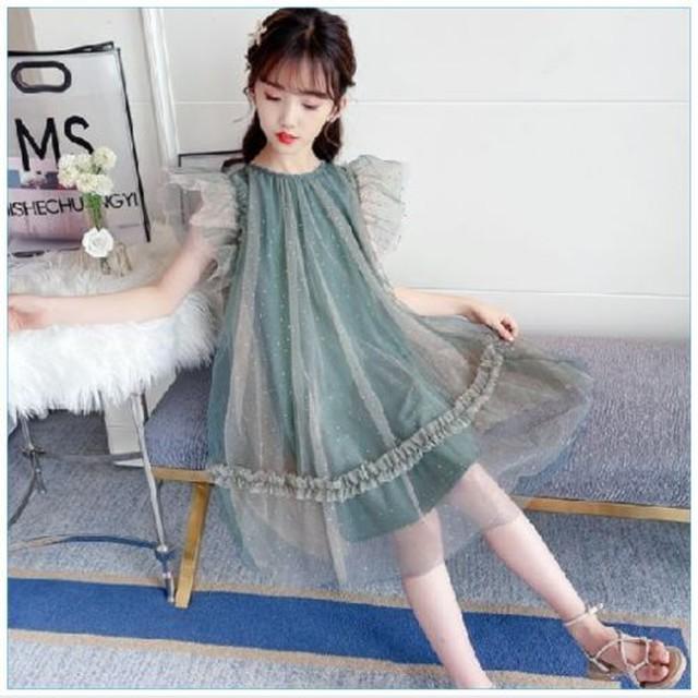 110~170cm ★シースルー プリンセス ドレス ラメ プリーツ袖